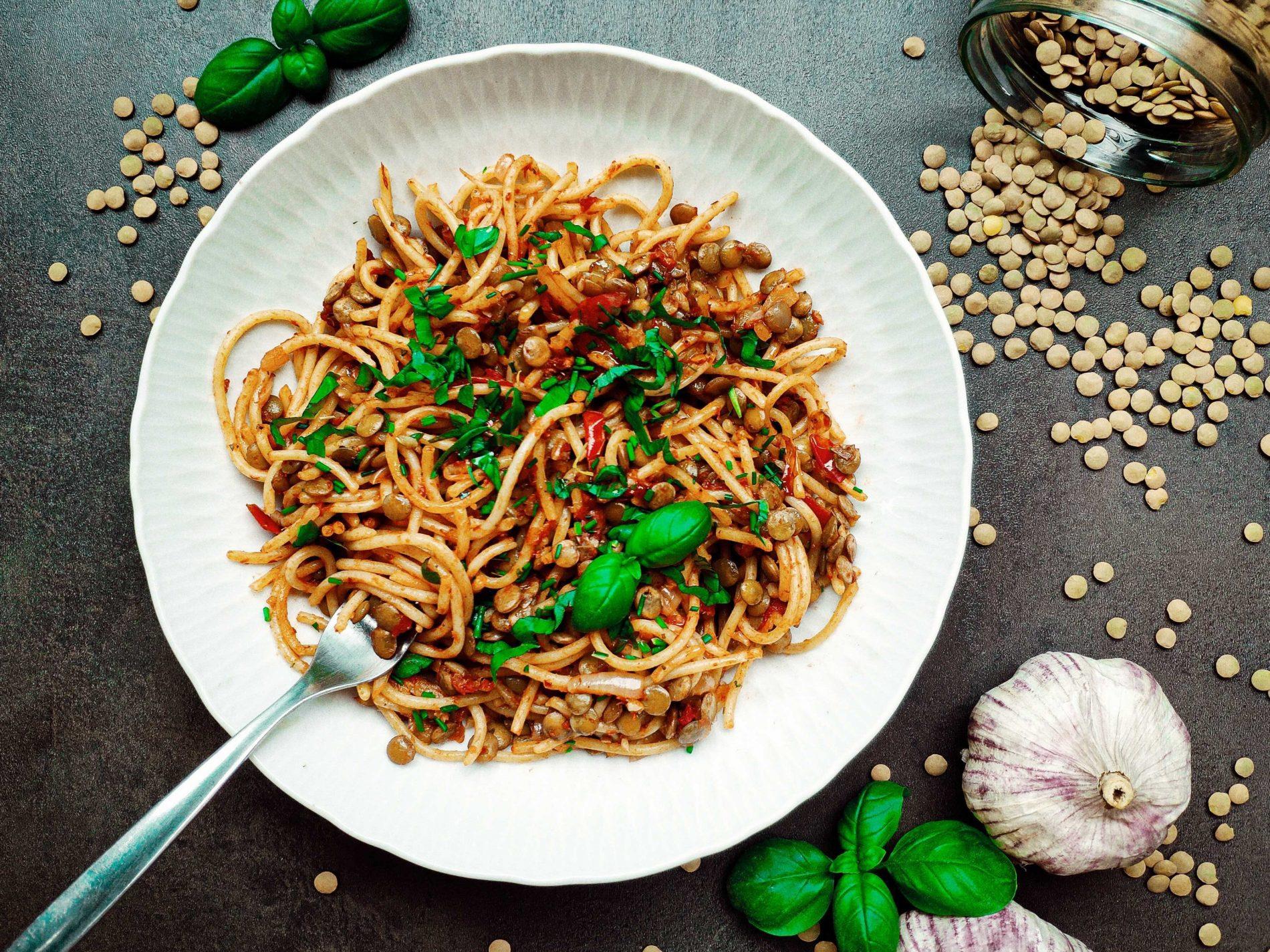 bolonské špagety so šošovicou